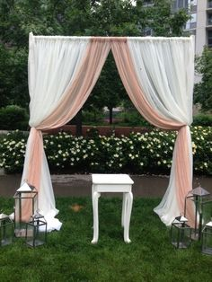 Draping outdoors/frame ffrom pvc pipes and sheer curtains