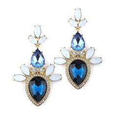 Pave Pear Sapphire Blue Statement Art Deco Earrings Prom Wedding Bridesmaids