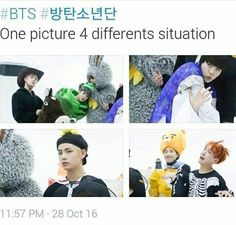 """A rare instance where Tae is the most """"normal"""" one XD that's how we know they're trying to act weird"""
