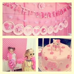 Hello Kitty Party-paper plates as a banner...cool!
