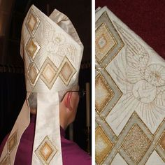 White embroidered mitre