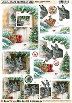 Craft Creations Die Cut Decoupage Christmas Donkeys