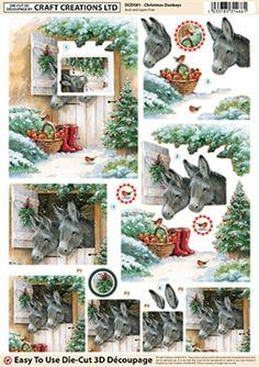 Craft Creations Die Cut Decoupage Christmas Donkeys