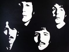 beatles clipart black and white Black And White Canvas, Clipart Black And White, Beatles Art, The Beatles, Arte Banksy, Shadow Photos, 3d Laser, Silhouette Art, Stencil Art
