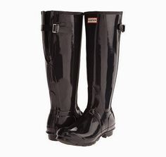 Extra Wide Calf Rain Boots; Hunter Original Back Adjustable Gloss. Price$158.00. These are a very glossy black. with an adjustable back strap to get a more perfect fit.