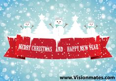 Merry Xmas graphics with snowmans, ice winter trees, lot of snow and snowflakes and big red ribbon where is written Merry Christmas and Happy New Year.