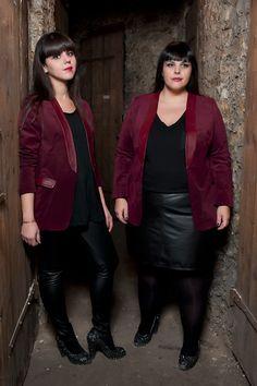 Bi-field blazer.  suede and lambskin.  Burgundy. #plus #size #fashion