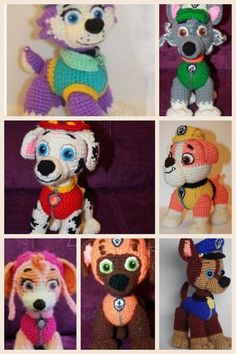 7 patterns to make 7 Paw patrol characters: Marshal, Chase, Skye, Rubble, Zuma, Everest, and Rocky. Pattern are in English USA. Toy will be about 6-7 tall if you use yarn weight #4 (worsted) and hook 3,25-4 mm. To make bigger toy crochet with double yarn and hook 4,5-4,75mm. If you would like to buy only one pattern (2,50$), please let me know I will make custom listing for you. Paw Patrol free patterns Zuma http://www.stranamam.ru/post/11018616/ Everest http:/...
