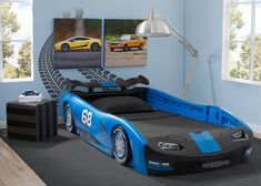 Sweet dreams are just around the corner with the Turbo Race Car Twin Bed from Delta Children! Designed to resemble a classic race car, fun details include a rear spoiler, a front grill and racing tires with chrome-colored rims. Made of durable molded plas Boy Car Room, Race Car Room, Race Car Bed, Boys Bedroom Cars, Car Bedroom Ideas For Boys, Twin Car Bed, Toddler Car Bed, Convertible Toddler Bed, Car Themed Rooms