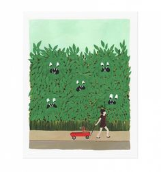 Monsters in the Bushes Illustrated Art Print