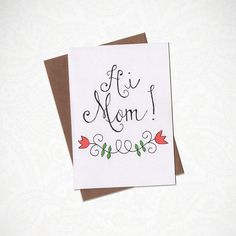 Hi Mom Greeting Card by KatieNovakArt on Etsy