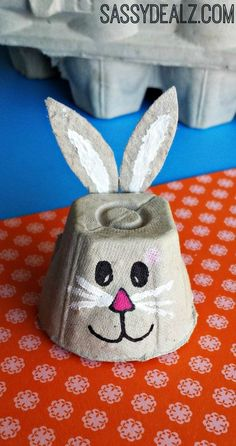 Easy Egg Carton Crafts for Kids - Crafty Morning : What a cute little bunny! The things you can do with an egg box are Eggstraordinary Here are some frugal and fun egg carton crafts for kids to make! Easy Easter Crafts, Egg Crafts, Easter Art, Bunny Crafts, Easter Crafts For Kids, Toddler Crafts, Diy For Kids, Easter Bunny, Easter Decor