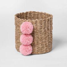 Small Paper Rope Decorative Basket with Pink Pom Pom Detail Nursery Storage Baskets, Toy Storage Baskets, Storing Stuffed Animals, Cloud Island, Boho Nursery, Girl Nursery, Nursery Room, Baby Room, Girls Bedroom