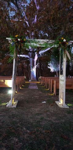 Oak tree with skull and florals pews uplighting Antique white arbor