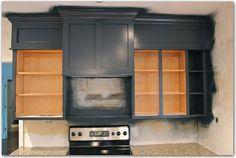Benjamin Moore Polo Blue on kitchen cabinets