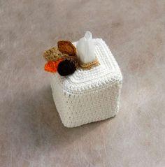 Woodland Decor Crochet Tissue Box Cover, Kleenex Box Holder, Nursery Decoration, Autumn Leaves, Acorn by NutmegCottage on Etsy https://www.etsy.com/uk/listing/216789350/woodland-decor-crochet-tissue-box-cover
