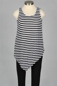 Comfy USA - Lela Tank Plus - Black & White Stripe