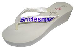 Wedding Flip Flops Bridesmaid Bridesmaid Bridal Flip Flops Bride Bling Glitter Wedge Wedding Platform Sandals Satin Flip Flops Shoes ** Check this awesome product by going to the link at the image.