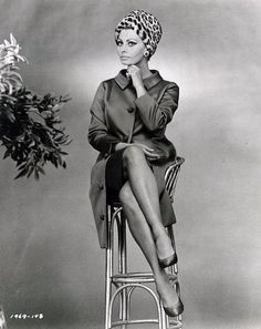 "Sophia Loren dressed in Marc Bohan for Dior poses for a publicity still for film ""Arabesque"", 1966"
