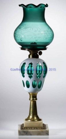 CUT OVERLAY MOORISH WINDOWS KEROSENE STAND LAMP,