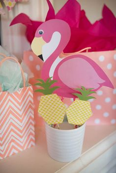 Printable flamingo and pineapples from Flamingo + Flamingle Pineapple Party at Kara's Party Ideas. See more at karaspartyideas.com!