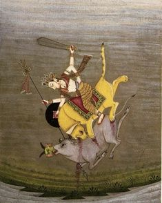 Durga slaying the buffalo demon, Bikaner, c. Miniature Paintings, Vintage India, Durga Goddess, Hinduism, Shiva, Art History, Buffalo, Miniatures, Water Buffalo