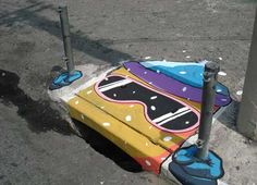 The unusual and fun street art from Brazil. The artists behind this work are Anderson Augusto and Leonardo Delafuente, and they . Graffiti Face, Street Art Graffiti, Amazing Street Art, Best Street Art, Awesome Art, Street View, Urban Street Art, Urban Art, Banksy