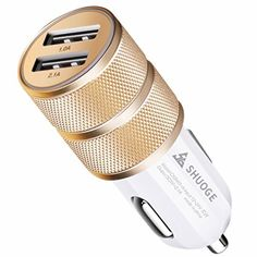 Car Charger, ShuoGe® 2.1A/24W 2-Port Smart USB Quick Charge Car Charger (Golden)