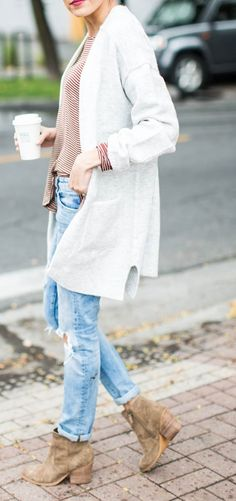 #thanksgiving #fashion · White Cardigan // Striped Sweater // Destroyed Jeans // Suede Ankle Boots
