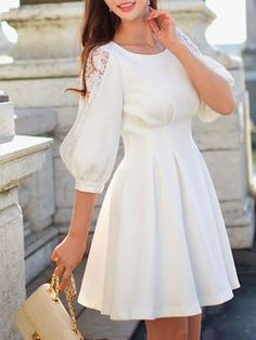 Crew Neck Paneled Sweet Half Sleeve Mini Dress in 2019 Stylish Dresses, Casual Dresses, Short Dresses, Mini Dresses, Elegant Dresses For Women, Dress Outfits, Fashion Dresses, Designs For Dresses, Mini Dress With Sleeves