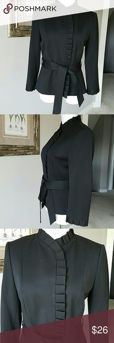 "💕💕💕Tahari blazer size 8 Perfect condition black 3/4 sleeve  23"" long 38"" bustline 34"" waistline 26.5"" shoulder to shoulder 21"" sleeves 48% Polyester 48% viscose  4% spandex Tahari Jackets & Coats"