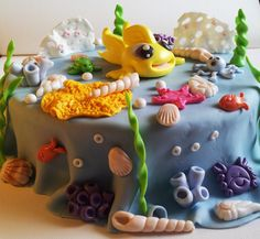 Cake Tort. Sugarcraft Masa cukrowa. Sea Morze. Ocean. Coral reef Rafa koralowa