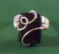Black hypersthene silver wire wrapped ring