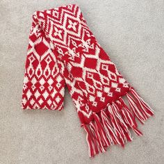"""Old Navy red/white fair isle knit scarf 76"""" long (not including the tassels on each end). Snags easily but can be gently pulled back into place just as easily. Double thick knit. Acrylic. Old Navy Accessories Scarves & Wraps"""