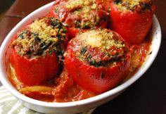Meatball-Stuffed Peppers with Spinach and Garlic