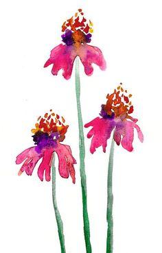 Watercolor Painting - Echinacea Floral - Pink Orange Coneflowers Art Print #watercolorarts