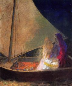 Boat with Two Figures   by Odilon Redon