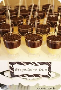 Brigadeiro duo no copinho in the cup with a small spoon! Easy and beautiful for parties!!