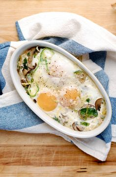 Baked Eggs with Brussels and Mushrooms