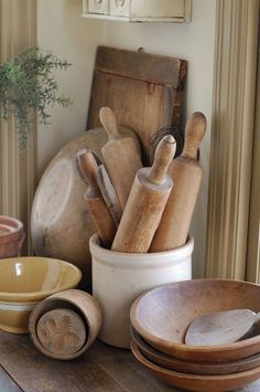 kitchen antiques, rolling pin storage,.