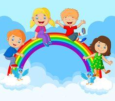 Cartoon Happy kids sitting on rainbow , Happy Children's Day, Happy Kids, Classroom Walls, Classroom Decor, Drawing For Kids, Art For Kids, Elementary Bulletin Boards, School Frame, Kids Background