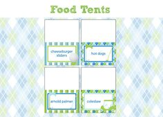 Golf Birthday Party - FOOD LABELS - Printable Golf Decorations - Printable Food Tents - DIY Birthday Party