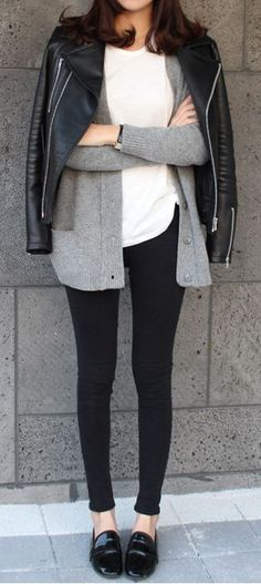 layering sweater + leather