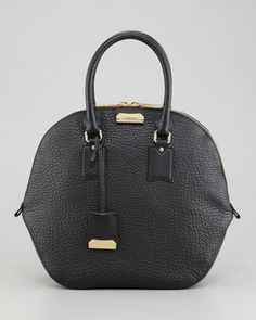 Medium Leather Bowler Bag, Black by Burberry at Neiman Marcus.