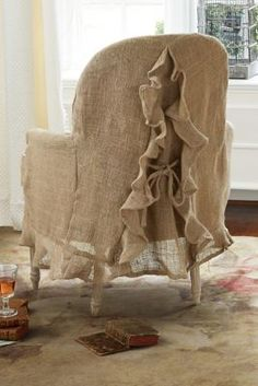 The 3 Pieces of Furniture Essential for a Shabby Chic Bedroom – We Shabby Chic Upholstered Furniture, Shabby Chic Furniture, Shabby Chic Decor, Burlap Furniture, French Style Chairs, Burlap Chair, French Country Furniture, Slipcovers For Chairs, Slipcover Chair