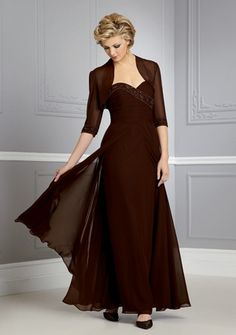 Sheath/ Column Sweetheart Strapless Floor-length in Chiffon Mother of the Bride Dress