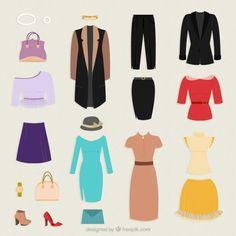 Colección de ropa para la mujer Vector Gratis