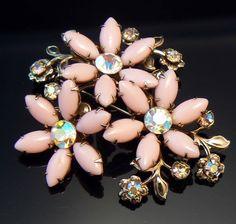 Vintage Pink Milk Glass Floral Brooch