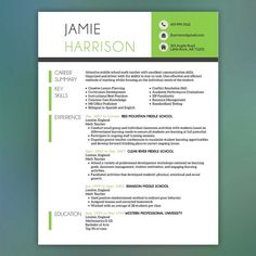 school and fun stuff Teacher Resume Template - Resume with Free Cover Letter and References - Instant Download - MS Office- HARRISON
