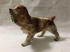SPRINGER SPANIEL DOG with Pheasant Porcelain FIGURINE Enesco E-2403